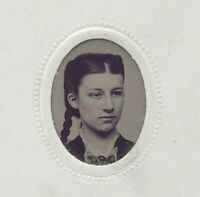 Antique Victorian Tintype Photograph Miniature Hand Painted Blush Lady