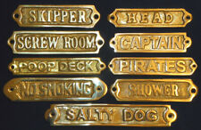 Solid Brass Door Sign Nautical Wall Plaque Decor (Screws Included)