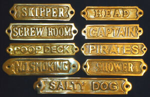 Solid Brass Door Sign Nautical Wall Plaque Decor  (Screws Included)