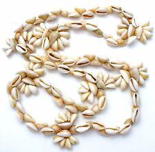 "Coffee Bean Trivia Shell Necklace 38"" Handmade Vintage Beach Seashell Jewelry"