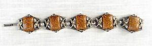 Vtg Unsigned Designer Gold/Copper Confetti Lucite Chunky Bracelet - Silver Tone