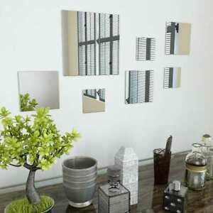 BAKAJI Set 8 Specchi Quadrati Mosaico Installazione a Muro con Adesivi Specchio Adesivo Quadrato Decorazione Parete Casa Design Moderno Libera Installazione 20 x 20 cm