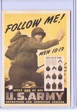 VINTAGE FOLLOW ME US ARMY RECRUITER ADVERTISING REPRODUCTION POSTCARD