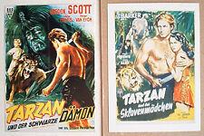 Tarzan u.d. schwarze Dämon & TARZAN u.d. Sklavenmädchen RKO Plakat Postkarten