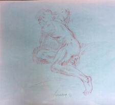 Harry Carmean drawing of seated male model 1991 white highlights