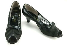 Vintage American Girl Shoes Black Patent Open Toe Heels Pumps Size 9 1/2 bt