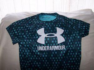 Girls Under Armour Navy Blue Patterned Short Sleeve BIG LOGO Shirt XLarge LOOSE