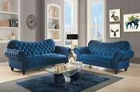 Transitional Living Room 2 piece Navy Blue Velvet Sofa Couch Loveseat Set IRA4