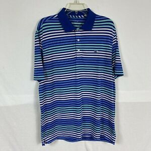 Vineyard Vines Short Sleeved Men's Collar Shirt Logo Size M Medium Striped Blue
