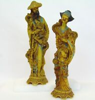 """Vintage Pair 16"""" ITALY Chinese Fenghuang Bird CHINA Phoenix Couple Resin Figures"""