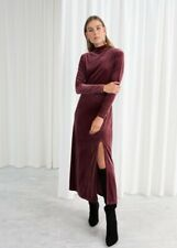 And Other Stories Mockneck Velvet Dress Size 6 XS