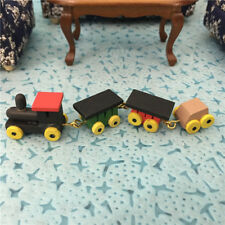 Dollhouse Miniature Colored Wood Baby Train Carriages set Toy Nursery Decor 1/12