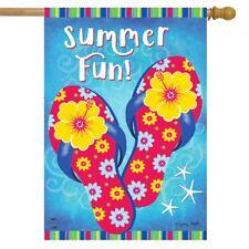 "Summer Fun Flip Flops House Flag Nautical 28"" x 40"" Briarwood Lane"