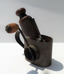 Antique Nutmeg Grinder / Grater w/ Tin Finger Handle & Wooden Crank