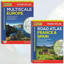 Philip's:France and Spain Road Atlas & Multiscale Europe 2 Books Collection NEW