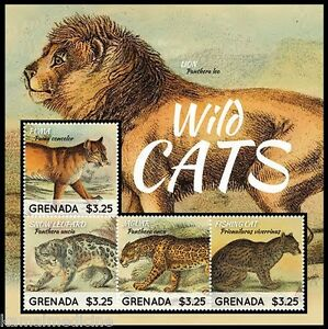Grenada 2013 MNH 4v SS, Wildcats, Lion, Panther, Wild Animals