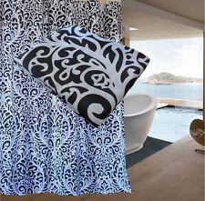 FREE SHIPPING Black White Damask Pattern Shower Curtain 2m Long New