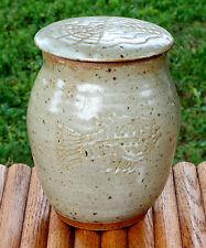 Vintage Hand Crafted Stoneware Pottery Jar & Lid Fish Design Front Salt Glaze