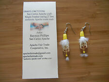 "authenic Apache craft eagle feather made with cowhide earring 2"" 584-585"