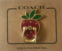 COACH Strawberry Metal Phone Ring Grip Kickstand Red Gold Multi F69227