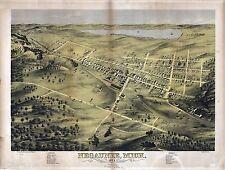 1871 Negaunee old Michigan map Genealogy atlas poster Marquette county Mi 12