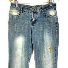 Baby Phat Womens Junior Jeans 7 / 8 Blue Denim Boot Cut Stretch Distressed Jean