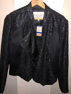 Rachel Roy Women's Sequined Jacket Blazer Coat XL Black Zip