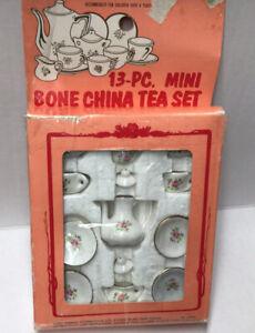 13-Pc. Mini Bone China Mini Floral Tea Set White with Pink Roses.  Used