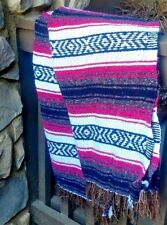 MexicanFalsa Blankets White, Pink & Brown aztec lines Brown fringe  XL