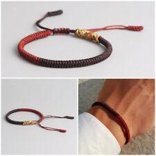 Bracciale uomo braccialetto Buddista Tibetano rosso da corda Buddha nodo knots
