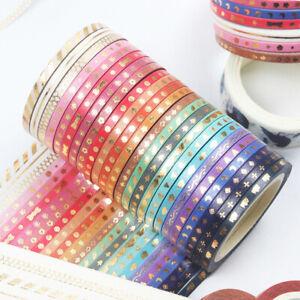 24 Roll Gold Foil Skinny Washi Tapes Masking Tape DIY Decor Gift Wrap Scrapbo*W