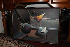 Unusual Abstract Science Fiction Artwork On Canvas-Signed-Geometric Shapes-CQQL