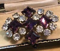 Vintage Paste Brooch Purple Clear