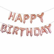 Rose Gold Happy Birthday Bunting Banner Foil Balloon Set + FREE Ribbon & Straw