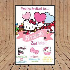 Hello kitty birthday greeting invitations ebay personalised hello kitty party birthday invites invitations digital you print m4hsunfo