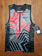 ZOOT Mens M LTD Tri Tank Triathlon Top Compression Shirt Black Grey Red Medium