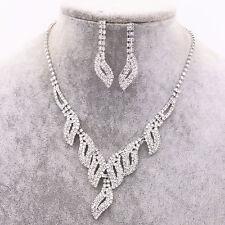UK Silver Wedding Bride Crystal Diamond Necklace Earrings Set Jewelry