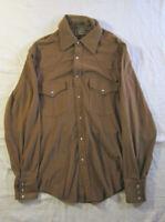 Harwyn Brown Long Sleeve Mens Shirt Pearl Snaps Buttons Western Vtg M 15 -15 1/2