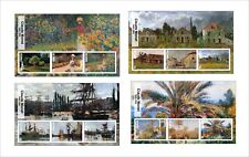 2017 CLAUDE MONET ART PAINTINGS  8 SOUVENIR SHEETS MNH UNPERFORATED