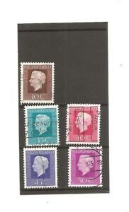Netherlands, A part set of 5 Queen Juliana, Definitive stamps. 1969.