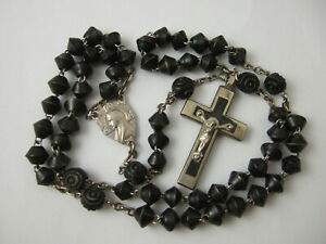 Vintage Catholic Rosary Black Bicone Carved beads Bakelite metal Crucifix France