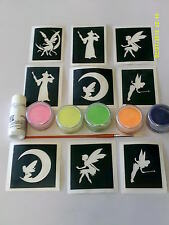 Fairy themed glitter tattoo set inc. stencils + glitter  fairies  tinkerbell