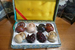 Vintage Oriental Miniature Japanese Boxed Teapots X 6 & 2 Small Buddhas