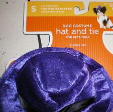 DOG Costume PURPLE VELVET HAT & ORANGE NECKTIE S New SMALL 2pc TIE Pet Pimp