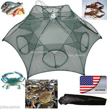 US Foldable Crab Net Trap Cast Dip Cage Fishing Bait Fish Minnow Crawfish Shrimp