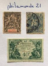 3 Timbres Guinée française neuf + oblitérés. 25C (1892), 25C (1904) 40C (1931)