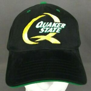 Quaker State Victory Lane Strapback Hat Black and Green Cap Embroidered NEW