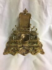 ANTIQUE VICTORIAN DESK SET double INKWELL INK STAND BRASS trade card ornate NICE
