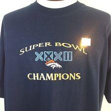 Denver Broncos T Shirt Super Bowl XXXII Champions Embroidered Blue Lee XXL NWT
