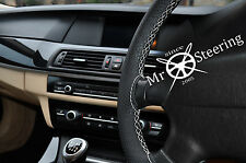 FITS AUDI Q5 I PERFORATED LEATHER STEERING WHEEL COVER WHITE DOUBLE STITCH 08-15